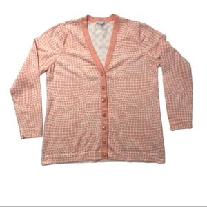 IsaacMizrahiLive Cardigan Ivory and Peach Print L